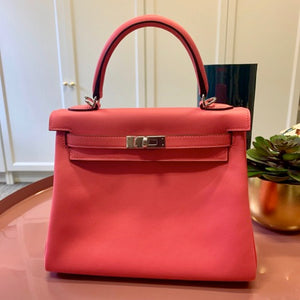 HERMÈS KELLY 25CM ROSE AZELEE | Swift Leather with Palladium Hardware