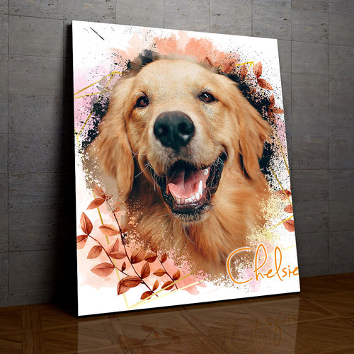Shady - Floral Personalized Portrait Canvas - Snoop Gold