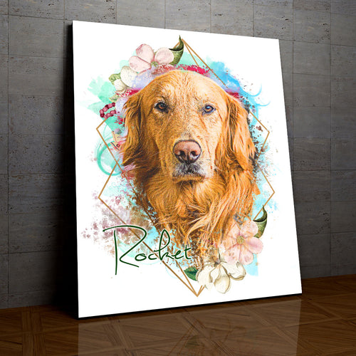 Springtime - Floral Personalized Portrait - Snoop Gold
