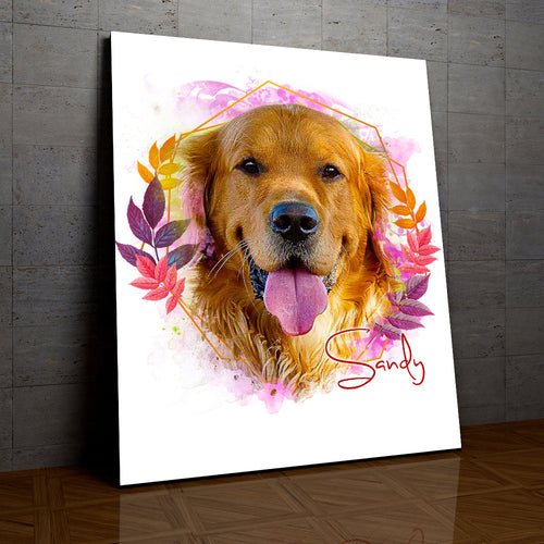 Cheeky - Floral Personalized Portrait Canvas - Snoop Gold