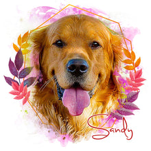 Load image into Gallery viewer, Cheeky - Floral Personalized Portrait - Snoop Gold