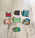 Pink Latte Coffee & Books Enamel Pin