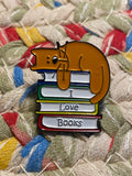 I love Books with cat Enamel Pin