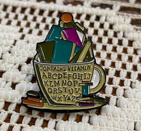 Tea Cup and Books enamel pin