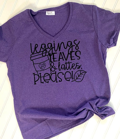 Leggings, lattes and leaves T-shirt