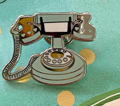 Old fashioned Telephone Enamel Pin (Lt. blue)