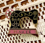 Black sewing machine Enamel Pin