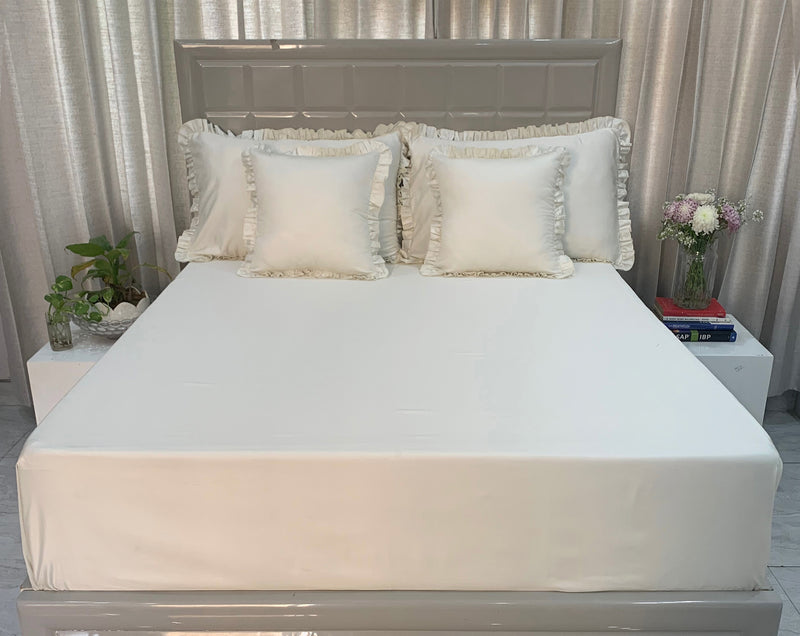 Snowfall White 400 Thread Count Bed Set by Limone Fresco