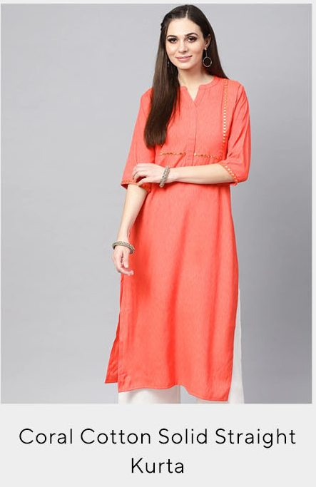 Coral Cotton Solid Straight Kurta