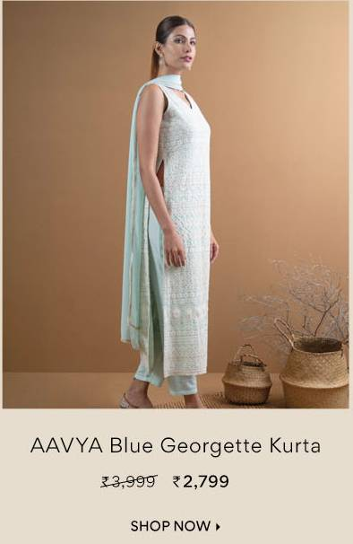 AAVYA Blue Georgette Embroidered Straight Kurta with Trouser and Dupatta