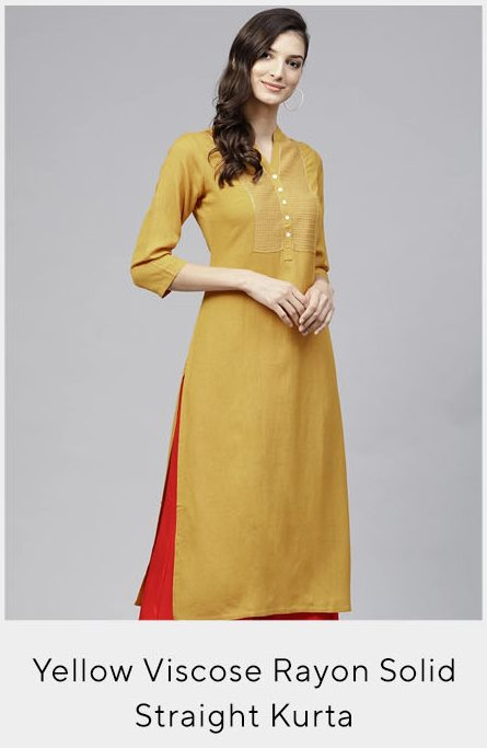 Yellow Viscose Rayon Solid Embroidered Straight Kurta