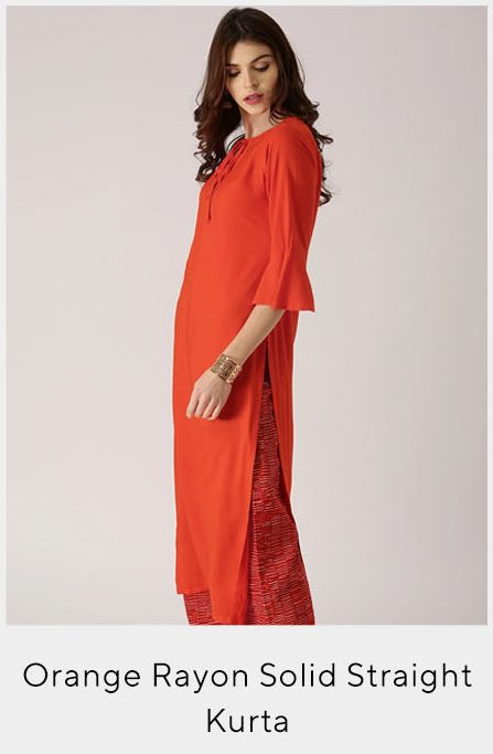 Orange Rayon Solid Straight Kurta