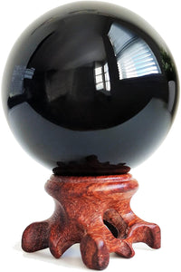 Mina Heal Obsidian Crystal Ball for Fengshui Ball, Meditation, Crystal Healing, Divination Sphere, Home Decoration, 100% Natural and Genuine
