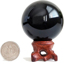 Charger l'image dans la galerie, Mina Heal Obsidian Crystal Ball for Fengshui Ball, Meditation, Crystal Healing, Divination Sphere, Home Decoration, 100% Natural and Genuine
