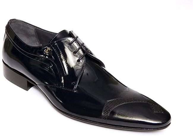 Giovanni Conti 3138-01 Navy Blue Ultra Patent Leather Lace Up Shoes