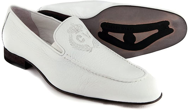 Carlo Ventura White Leather Slip On Loafers