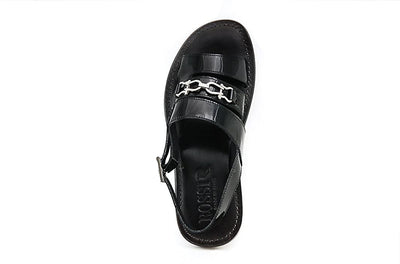 Rossi RS801 Black Patent Leather Back Buckle Sandals