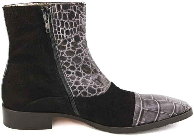 Carlo Ventura 2832 Black Ankle Suede Crocodile Trim Boots Leather Combo