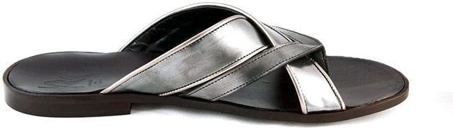 Roberto Guerrini Silver Criss Cross Leather Sandals
