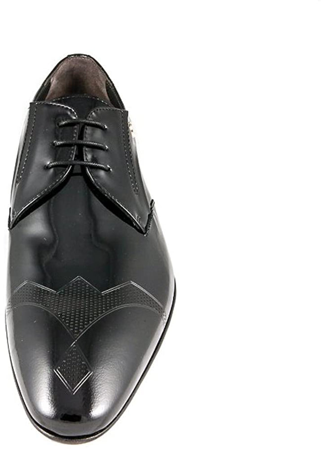 Giovanni Conti 3138-01 Black Ultra Patent Leather Lace Up Shoes