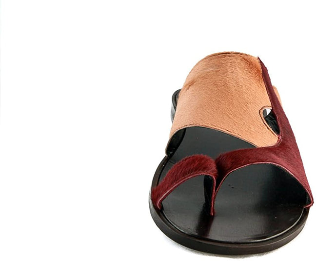 Roberto Guerrini Burgundy Beige Pony Leather Push In Toe Sandals