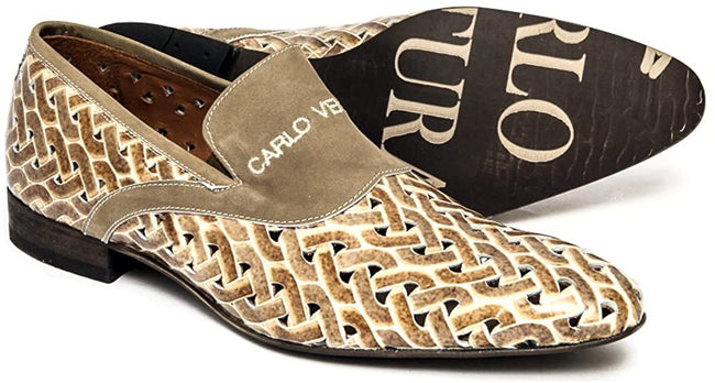 Carlo Ventura 2224 Beige/Brown Suede Logo Slip On Loafers