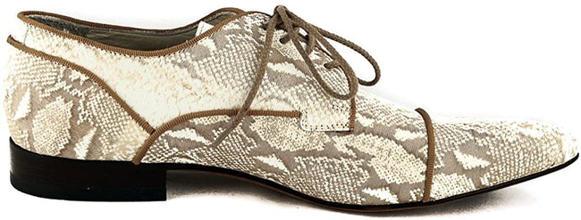 Carlo Ventura 2248 Beige Leather Python Laser Print Lace Up Shoes