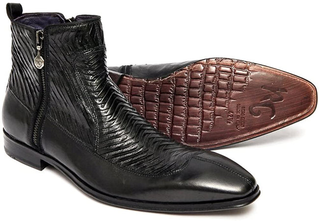 Roberto Guerrini A6450 Black Leather Pleated Trim Zip Up Boots