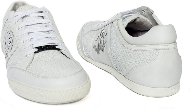 Roberto Cavalli 02894 White Leather Logo Low Top Lace Up Sneakers