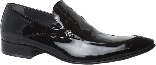 Giovanni Conti 3129-01 Black Patent Leather Slip On Loafers