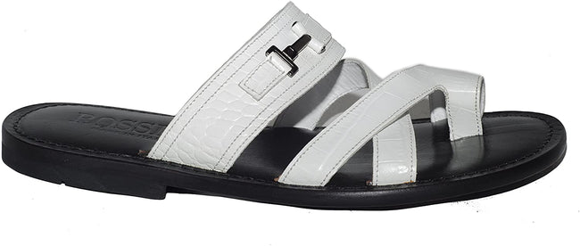 Rossi RS805 White Leather Buckle Decor Push In Toe Sandals