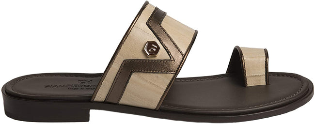 Giampiero Nicola 5396 Brown/Pearl Leather Push In Toe Sandals