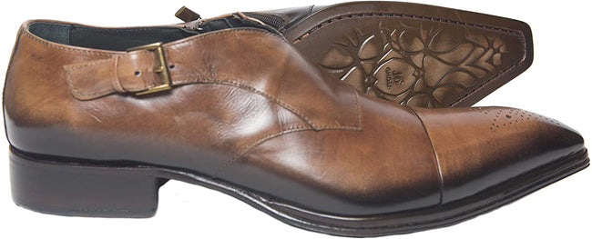 Jo Ghost 1704 Brown Leather Zipper Buckle Slip On Loafers