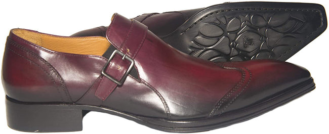 Jo Ghost 2132 Bordo Leather Buckle Slip On Loafers