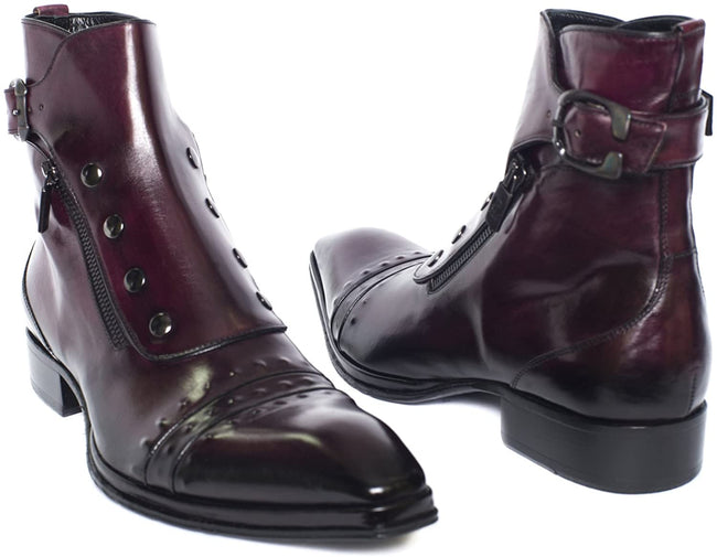 Jo Ghost 3207M Bordo Buttoned Double Zipper High Rise Boots