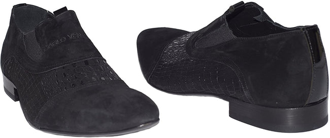 Carlo Ventura 2253 Black Suede Slip On Shoes