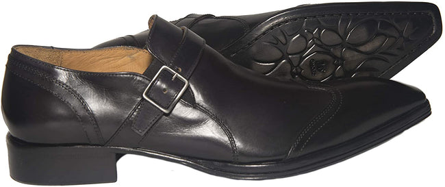 Jo Ghost 2132 Black Leather Buckle Slip On Loafers