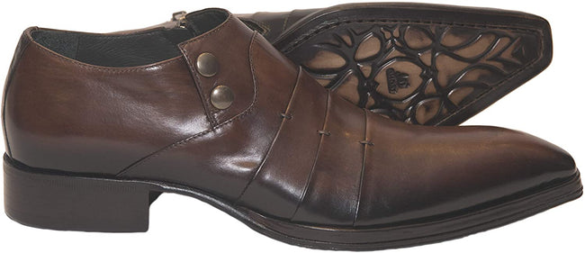 Jo Ghost 1830 Brown Leather Buttoned Zipper Loafers