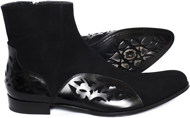 Jo Ghost 3550M Black Suede Leather Pattern Trim Boots