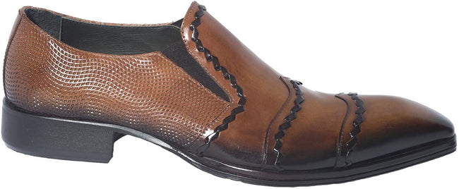 Jo Ghost 458M Brown Leather Stitched Decor Slip On Loafers