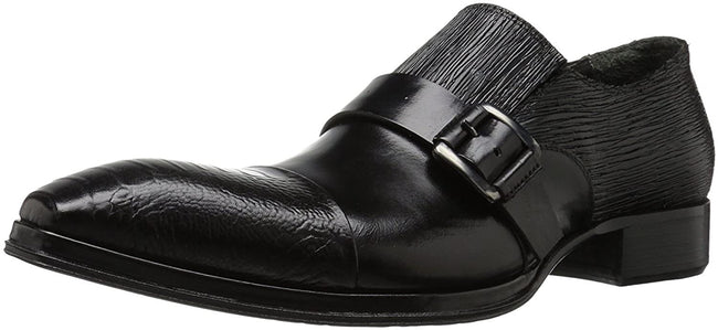 Jo Ghost 172 Black Leather Buckle Slip On Loafers