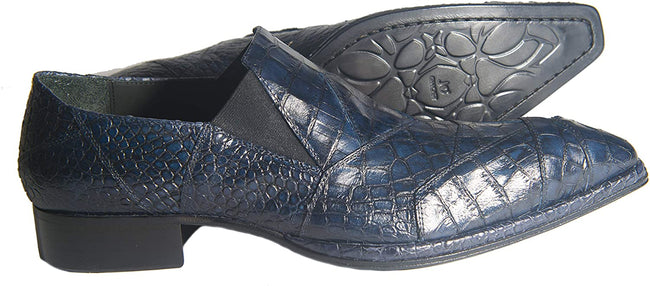 Jo Ghost 2029 Blue Crocodile Print Leather Slip On Loafers