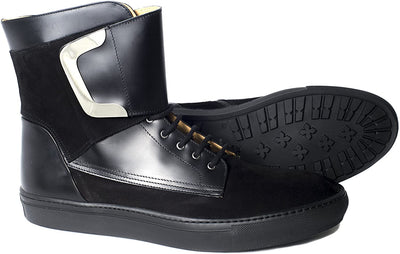 Giovanni Conti 3594-01 Black Nubuck Leather Strap Lace Up High Rise Sneakers