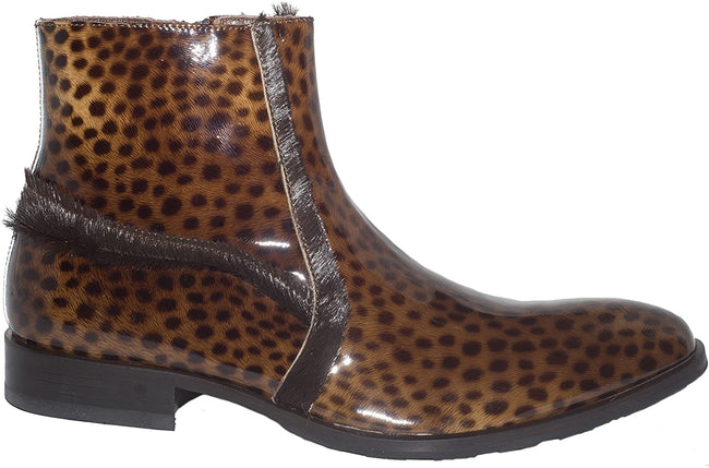 Carlo Ventura 2100 Brown Patent Leather Pony Trim Boots