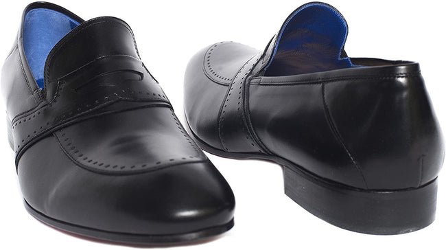 Giovanni Conti 3427-01 Black Leather Slip On Loafers