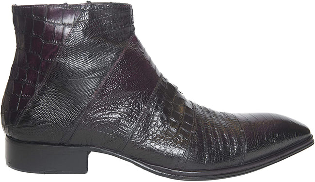 Jo Ghost 1489 Burgundy Lizard Print Leather Boots
