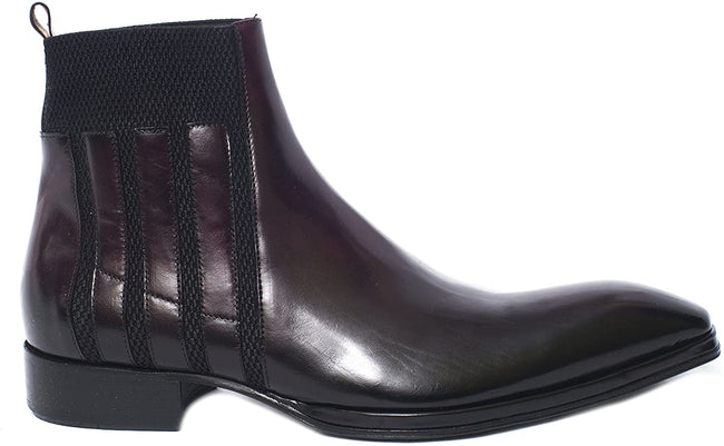 Jo Ghost 260 M Burgundy Leather Elastic Top Trim Boots