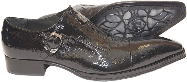 Jo Ghost 1316 Black Patent Leather Buckle Side Zippers Loafers