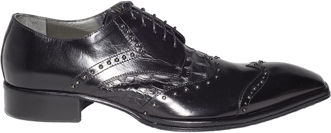 Jo Ghost 738 Black Leather Metal Studded Lace Up Shoes