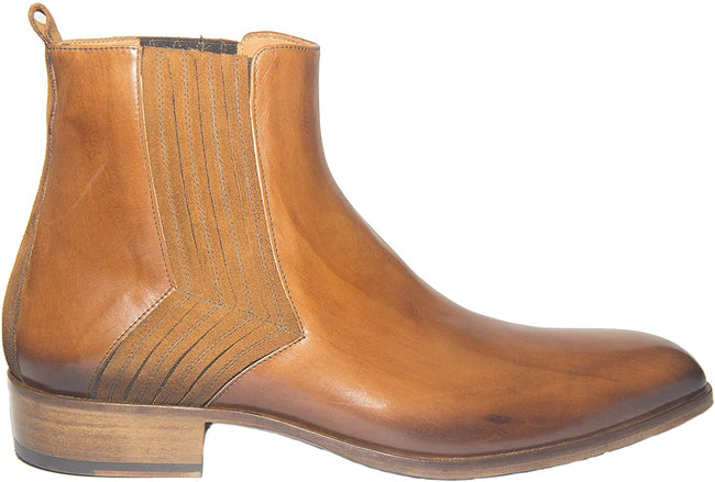 Jo Ghost 2014BIS Cognac Brown Leather Suede Trim Zipper Boots